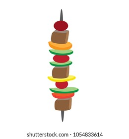 Meat and Vegetables on a Skewer for BBQ Isolated