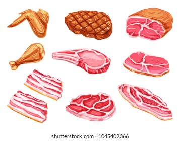 Meat watercolor paint vector icons. Beefsteak, barbeque grill brisket and bbq chicken legs or wings, beef tenderloin or ham bacon and sirloin fresh meat products in watercolor for butcher shop market