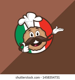 Meatball Cartoon Chef Mascot.Vector Illustration Isolated On White Background