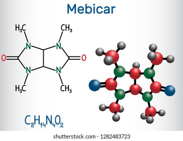 Mebicar (mebicarum) anxiolytic drug molecule. Structural chemical formula and molecule model. Vector illustration