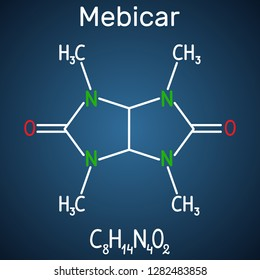 Mebicar (mebicarum) anxiolytic drug molecule. Structural chemical formula on the dark blue background. Vector illustration