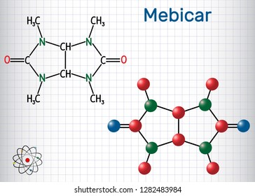 Mebicar (mebicarum) anxiolytic drug molecule. Sheet of paper in a cage. Structural chemical formula and molecule model. Vector illustration