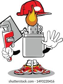 mecanic trash can holding wrench mascot cartoon