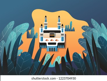 Mecca with full of leaf and bush. vector illustration