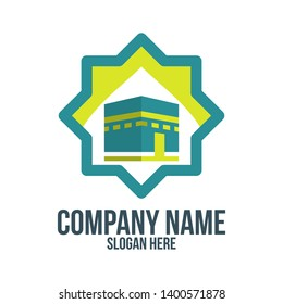 mecca, hajj, omrah, umrah, kaaba, mosque, muslim, islam and abstract concept. logo, icon, idea, symbol and brand for company, corporate, foundation, business, startup and enterprise