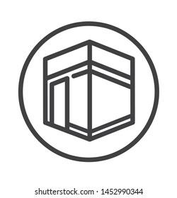 mecca icon with simple circle thin line style use for islamic event, web, print or pictogram assets. ilustration of hajj, umrah, ramadan kareem, ied mubarak - line vector.