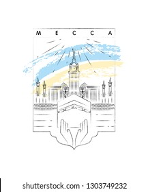 Mecca, Kaaba vector illustration and typography design