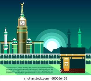 Mecca or Makkah, flat vector design illustration with sunrise or sunset, banner or poster