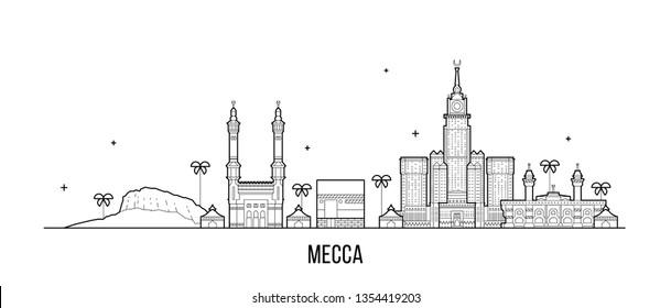 Mecca, Makkah skyline, Saudi Arabia. This illustration represents the city with its most notable buildings. Vector is fully editable, every object is holistic and movable
