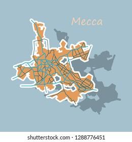 Mecca Map Saudi Arabia Sticker Illustration Stock Vector (Royalty ...