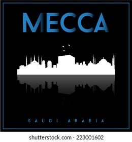 Mecca, Saudi Arabia, skyline silhouette vector design on parliament blue and black background.