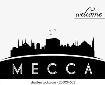 Mecca Saudi Arabia skyline silhouette black vector design on white background.