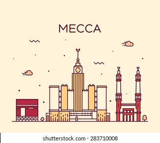Mecca skyline detailed silhouette. Trendy vector illustration, linear style.