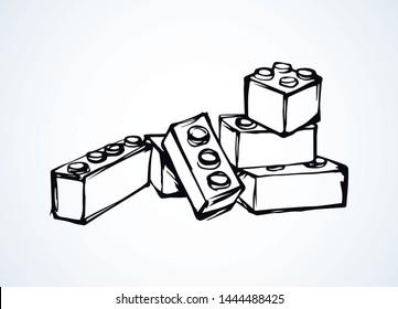 Meccano Puzzle-Kit auf weißem Hintergrund. Freehand umreißen schwarze Farbe Tinte handgezeichnet Design Objekt Logo Emblem Piktogramm Sketchy in der modernen Kunst Drehbuch Comic Stil. Nahaufnahme mit Leerzeichen für Text