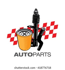 Mechanic Auto parts icon illustration in vector format over white isolated background