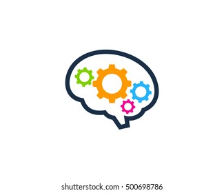 Mechanic Brain Gear Logo Design Template