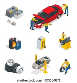 Mechanic and Car Repair, Battery, Spark plugs, Oil, Tires, Wheels elements. Flat 3d isometric illustration for infographics and design.