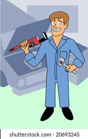 A mechanic carrying two different wrenches, at his repair shop