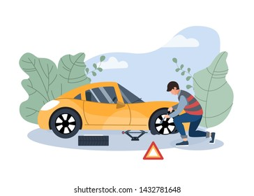 Mechanic changing wheel on a roadside. Road assistance concept. Insurance accident on the road. Flat vector illustration.