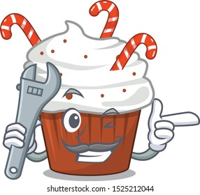 Mechanic christmas cupcake with in cartoon shape