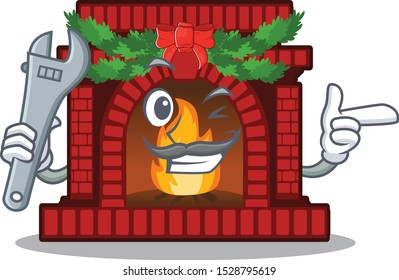 Mechanic christmas fireplace on with the character