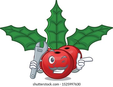 Mechanic christmas holly berry in the cartoon