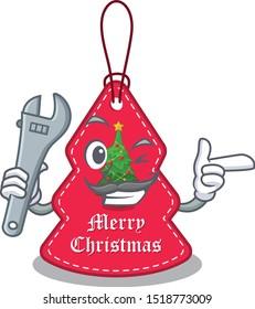 Mechanic Christmas tags hanging on cartoon walls