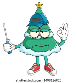 Mechanic of christmas tree cartoon character holding a screwdriver with funny bad mood face