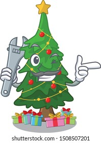 Mechanic christmas tree toy shaped a character