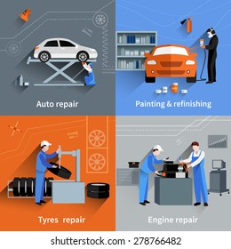 Mechanic design concept set with auto tyres and engine repair and painting flat icons isolated vector illustration