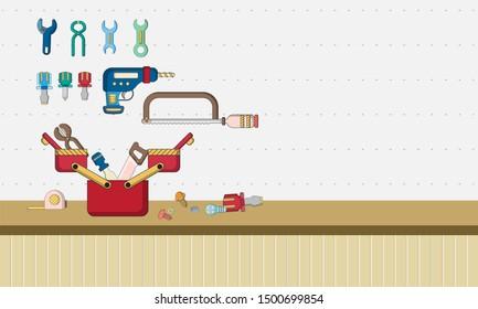 Mechanic equipment room. Wall-mounted tools. engineering tools. flat design cartoon concept. vector ,illustration