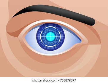 Mechanic Eye Implant Ophthalmology Bionic Prototype  Vector illustration