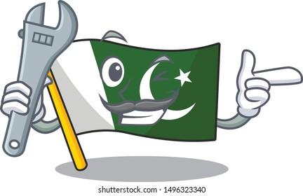 Mechanic flag pakistan isolated in the cartoon