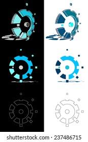 Mechanic gear logo set, eps10 vector.