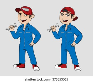Mechanic, A hand drawn vector illustration of a mechanic in 2 varieties (editable).