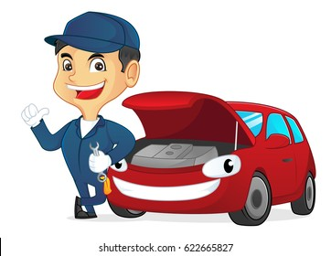 Mechanic holding wrench leaning on car isolated in white background