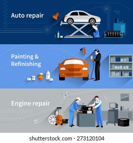 Mechanic horizontal banners set with auto engine repair elements isolated vector illustration