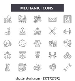 Mechanic icon line icons, signs set, vector. Mechanic icon outline concept, illustration: service,mechanic,repair,engine,auto,wheel,car