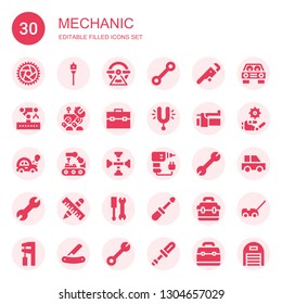 mechanic icon set. Collection of 30 filled mechanic icons included Wheel, Auger, Wrench, Robotic arm, Robot, Toolbox, Tuning, Brake, Car, Robot arm, Cross wrench, Drill, Tools
