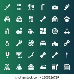 mechanic icon set. Collection of 36 filled mechanic icons included Garage, Configuration, Brake, Toolbox, Robot, Auger, Wrench, Ratchet, Wheel, Tuning, Tool, Car, Arms, Exhaust pipe