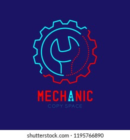 Mechanic logo icon, wrench in gear frame outline stroke set dash line design illustration isolated on dark blue background with Mechanic text and copy space, vector eps 10
