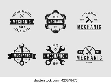 Mechanic logo set white