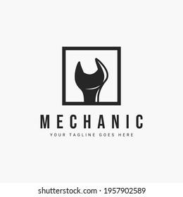 Mechanic logo vector illustration design. simple spanner logo concept