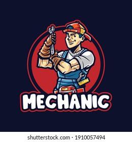 Mechanic man Cartoon mascot logo