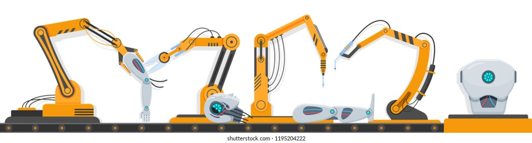 Mechanic manufacturing factory arm robots. Robotic assembly line, industrial automation machines with conveyor belt, nozzles, tongs, suction cups, for assembling human robot. Vector illustration.
