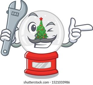 Mechanic miniature christmas snow globe cartoon shape