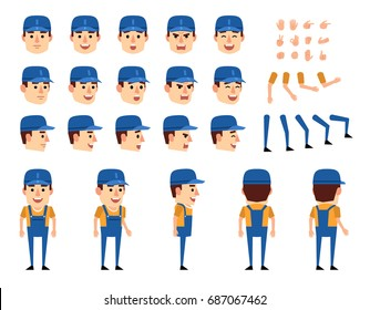 Mechanic in overalls creation set. Various gestures, emotions, diverse poses, views. Create your own pose, animation. Flat style vector illustration