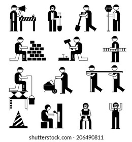 mechanic people icons, working people in construction site, black theme