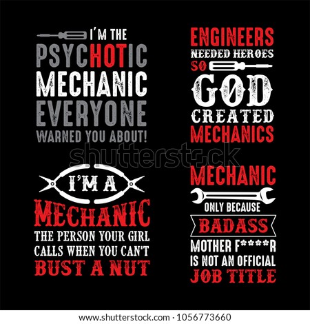 Mechanic Saying Quotes 100 Vector Ready Stock Vector (Royalty Free