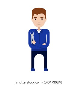 Mechanic in Uniform with Wrench. Serviceman, plumber, handyman, engineer. Vector Stock Illustration.  Repairman With Wrench